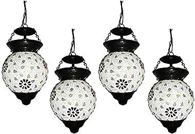 SHRI MAHAL ANTIQUES 4 Piece Glass Hanging Light