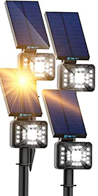 21 LEDs Solar Landscape Spotlights, 200ft Lighting Distance - Waterproof Solar Powered Wall Lights - 2-in-1 Wireless Outdoor Landscaping Lights for Yard Garden Driveway Porch Walkway Pool 4-Pack