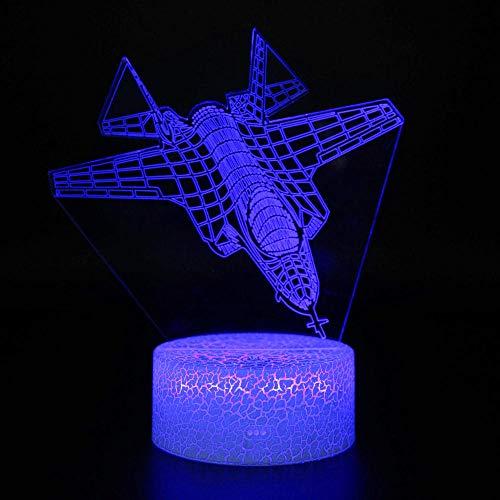 3D lámpara de mesa noche luz aviones 3D luz lámpara 16 colores cambiar con remoto vacaciones y cumpleaños regalos ideas para niños