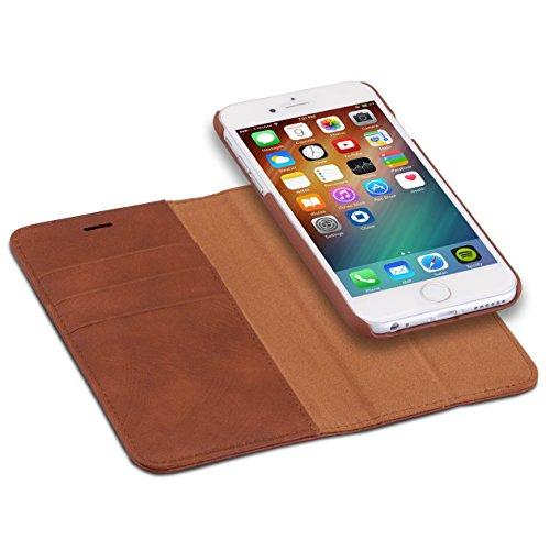 """Custodia CASEZA""""Zurich"""" rimovibile a portafoglio per iPhone 6 / 6s - Marrone – Eccellente cover in pelle sintetica 2 in 1 a libro magnetica per iPhone 6/6s originale – La più flessibile custodia"""