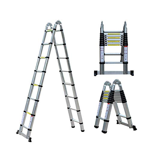 Escalera telescópica de aluminio,Escalera plegable de 5 m,Escalera multifuncional,Escalera de mano extensible,Capacidad de carga máxima 150 kg
