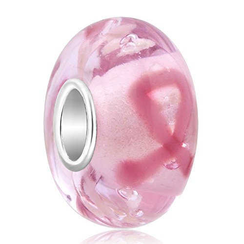 Sug Jasmin Pulseras con abalorios de plata de ley con lazo rosa