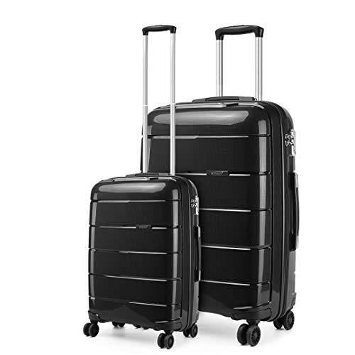 Kono Lightweight Polypropylene 2 Piece Luggage Set 20' Cabin + 28' Check in Spinner Suitcase with TSA Lock and YKK Zipper (Black)