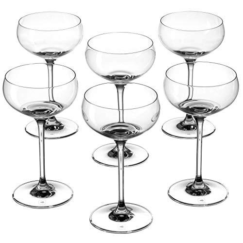 Leonardo Cheers Sekt- Schalen, 6er Set, spülmaschinenfeste Champagner-Gläser, Sekt-Schale mit gezogenem Stiel, Sekt-Gläser Set, 315 ml, 061644