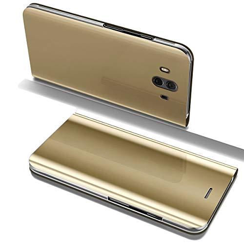 Huawei Mate 10 Clear View Specchio Standing Cover Slim Mirror Flip Huawei Mate 10 Lite Custodia Bookstyle Wallet Portafoglio Elegante Smart Flip Alsoar® Ultra Slim Case (Oro, Mate 10 Lite)