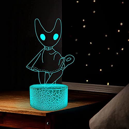 XXSDDM Lámpara Hollow Knight Night Light,Anime Figura Illusion Game Light Decoración Atmósfera Touch Remote Control