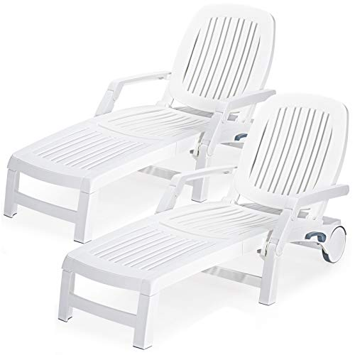Giantex Chaise Lounge Outdoor 6 Adjustable Backrests Lounge Chair Recliner with Wheels for Patio, Poolside, Garden Foldable Beach Sunbathing Lounger(2, White)