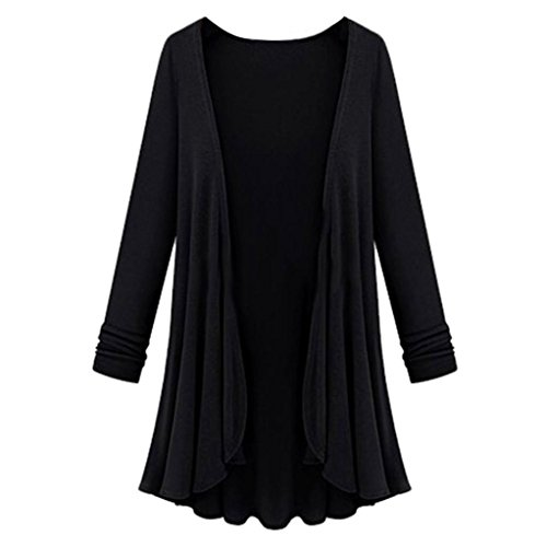 Strickjacken Cardigan Damen Strickmantel Ronamick Langarm Lang offene Einfarbig Mantel Outwear Top Bluse (Schwarz, M)