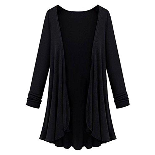 Strickjacken Cardigan Damen Strickmantel Ronamick Langarm Lang offene Einfarbig Mantel Outwear Top Bluse (Schwarz, XL)