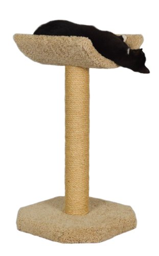 Necesa Molly and Friends Kitty Cot Premium Handmade One Tier Sisal Cat Scratching Post Furniture with Cradle, Model Scr/c, Beige