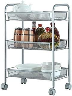 3-Shelf Shelving Storage Unit on Wheels, Metal Organizer Wire Rack (Silver)