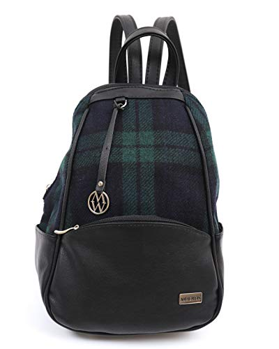 "Mini Backpack Blackwatch Plaid Tweed & Black Leather Celtic Bag 10"" x 13.5"" Long-Lasting Designed in Ireland"