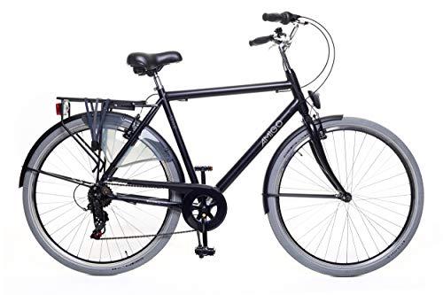 Amigo Style - Cityräder für Herren - Herrenfahrrad 28 Zoll - Geeignet ab 180-185 cm - Shimano 6 Gang-Schaltung - Citybike mit Handbremse, Beleuchtung und fahrradständer - Schwarz/Grau