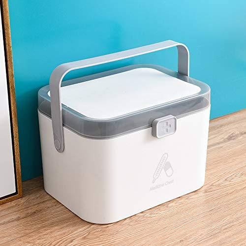 Crazywind Abschließbare Erste-Hilfe-Container-Box Haushalt Medizin-Box leere Notfall-Kit, tragbare Aufbewahrungsbox für Zuhause, Reisen, Schule und Arbeitsplatz