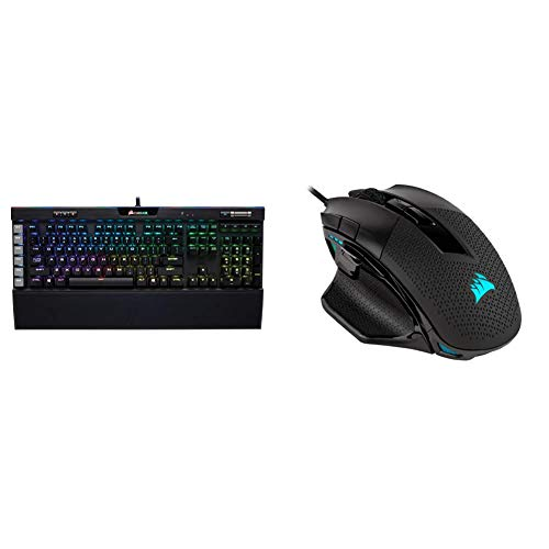 Corsair K95 RGB Platinum Mechanical Gaming Keyboard - Black Finish & Nightsword RGB - Comfort Performance Tunable FPS/MOBA Optical Ergonomic Gaming Mouse with Backlit RGB LED, 18000 DPI, Black