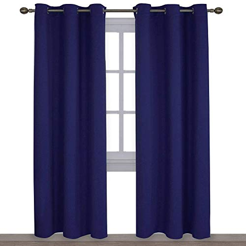 NICETOWN Window Treatment Energy Saving Thermal Insulated Solid Grommet Blackout Curtains/Drapes for Livingroom (Royal Navy Blue, 1 Pair,42 by 84-Inch)