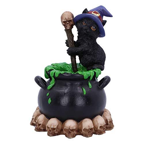 Nemesis Now Spook Witches Vertraute Schwarze Katze und sprudelnder Kessel, 12 cm
