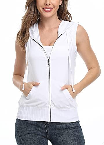 MISS MOLY Ärmellos Sweatjacke Damen Weste Hoodie Shirt mit Reissverschluss Kurzarmjacken Sweatshirt Weiß Medium
