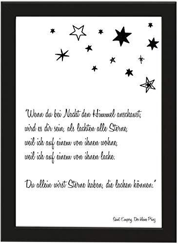 PICSonPAPER Poster DIN A4 Wenn Du bei Nacht den Himmel anschaust, gerahmt mit schwarzem Bilderrahmen, Trauer, Beerdigung, Beileid, Poster mit Rahmen, Typographie, Poster Trauer (Wenn du bei Nacht)