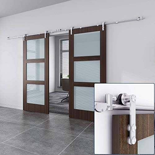 """EaseLife 10 FT Stainless Steel Double Sliding Barn Door Hardware Track Kit,Heavy Duty,Anti-Rust,Slide Smoothly Quietly,Easy Install,Fit Double 30"""" Wide Door (10FT Track Double Door Kit)"""