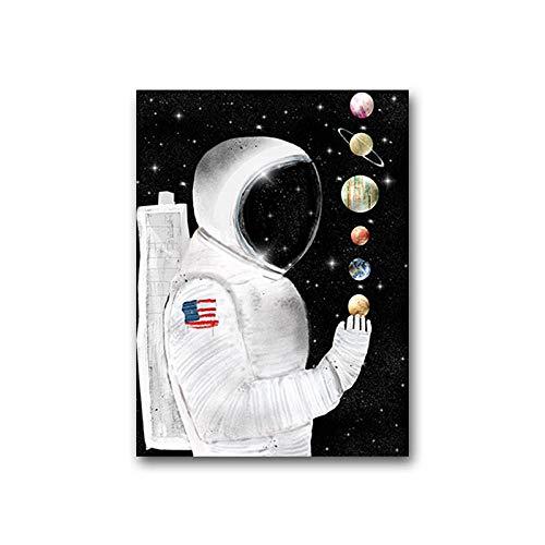 Zgzkmwsss Póster de decoración de Lienzo Abstracto e impresión para Sala de Estar, Dormitorio, astronautas, imágenes, Arte de Pared, decoración nórdica para el hogar, 40x60 cm, sin Marco