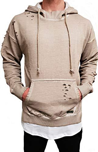 Oversize Camouflage Designer Sweat-Jacke Cardigan Hoody Pullover Shirt Herren Hoodie Longsleeve m NEU Kapuzenpullover Long hip hop Zipper Sweatshirt Pulli Longshirt camo Swag deep Neck (S, Stone)