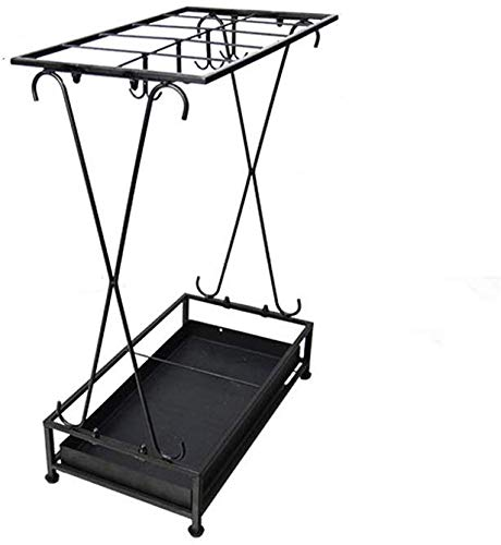 Paraplustandaard voor hal, paraplu, huis, winkel, restaurant van smeedijzer, zwart, wit, plank, paraplustandaard (kleur: B)