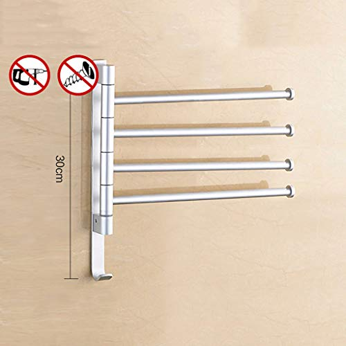 Towel Rail Swivel Towel Rail Anodic Oxidation Aluminum Alloy Bath Rack Wall Mounted Towel Rack Holder, Swing Towel Holder For Kitchen, Bathroom, Toilet (Color : White, Size : 4)