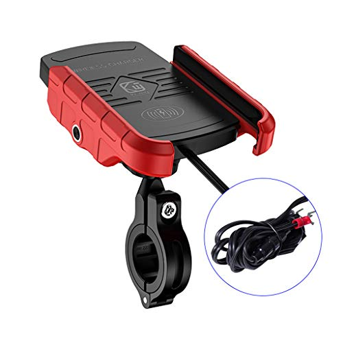 Freshsell Motorrad Handyhalterung, Motorrad Telefon Qi Schnellladung Wireless Charger Mount, Wasserdicht 12V Handy Ladegerät Halterung Halter Ständer