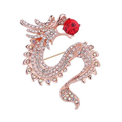 Harilla Insignia De Cristal Clásica del Broche De Corbata del Broche De La Forma del Dragón del Estilo Antiguo para Hombre - Oro + Rojo