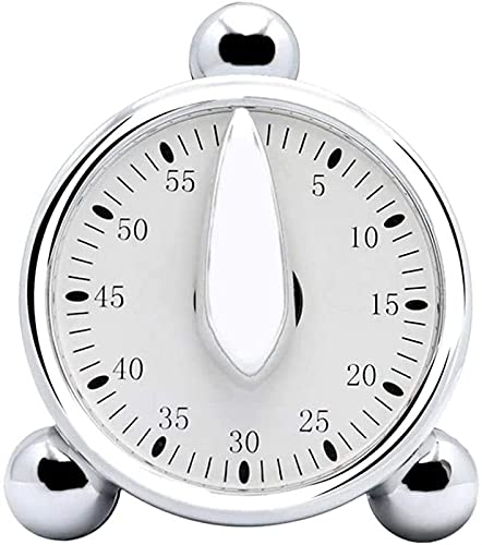 hwljxn Timer, 8 * 6,8 * 4,6 cm 60 Minuten Mechanischer visueller Timer, Silber-Multifunktions-Countdown-Wecker zum Kochen Backen Klassenzimmer Lehre