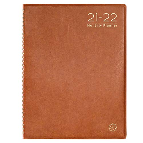 "2021-2022 Monthly Planner- Monthly Planner 2021-2022 with Monthly Tabs, 8.7"" x 11.4"" Leather Soft Cover, Twin-Wire Binding + Inner Pocket"