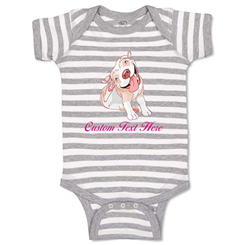 Custom Personalized Boy & Girl Baby Bodysuit Pitbull Itching Funny Cotton Striped Baby Clothes Stripes Gray White Personalized Text Here 6 Months