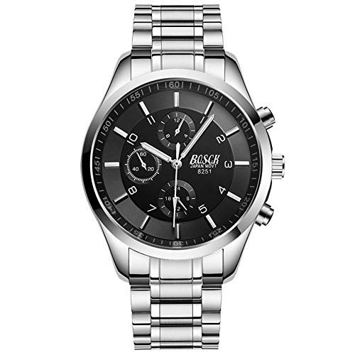 LYZZGZZ Relojes de Pulsera Reloj Deportivo Dorado Negro para Hombres luz Nocturna Tres Ojos Seis Pines Fideos Oro Blanco y Oro Negro