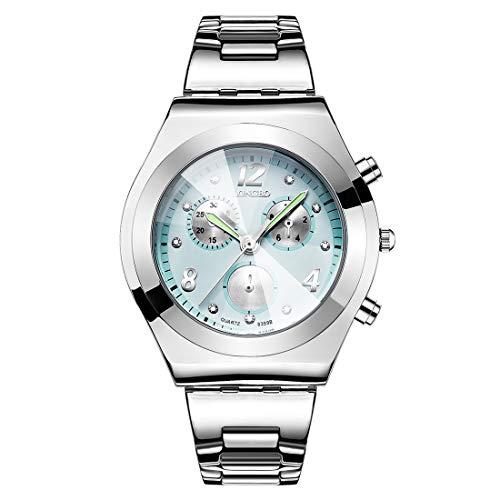 Reloj de Moda LONGBO Luminous Hands Rhinestone Scale Tres Decoraciones Dial Quartz Women Watch con Banda de aleación (Negro) ZHU Reloj de Moda