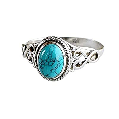 shiYsRL Exquisite Jewelry Ring Love Rings Antique Turquoise Natural Gemstone Bride Wedding Engagement Vintage Ring Gift Wedding Band Best Gifts for Love with Valentine's Day - US 10