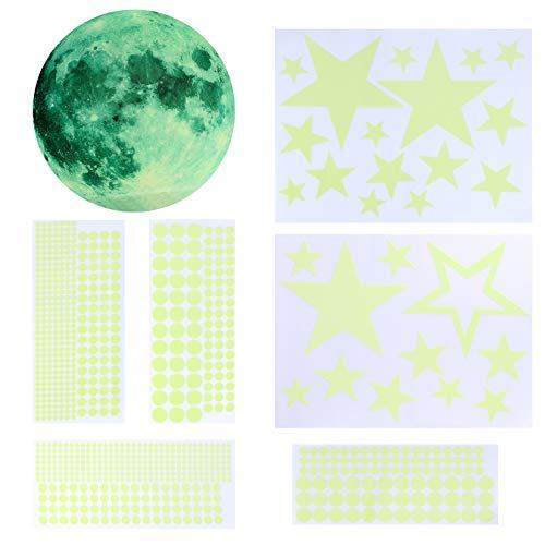 842 adesivi da parete con stelle luminose, stelle e luna, decorazione fai da te per bambini, ragazzi e ragazze, camera dei bambini