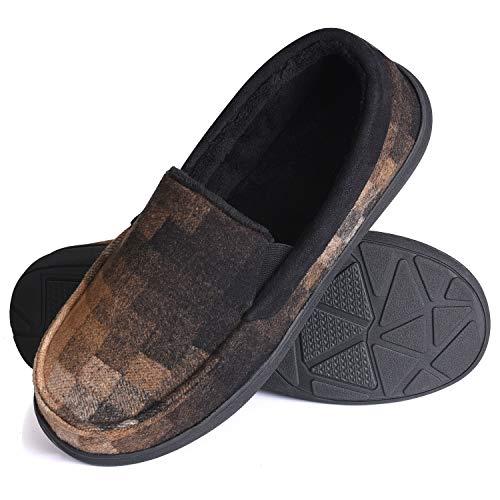 Homitem Men Slippers Memory Foam Moccasin Slipper Plaid Fleece Lined House Shoes w/Indoor Coffe Size 11