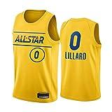 Egdu Camiseta de Baloncesto de la NBA, versión Estrella Camiseta de la NBA Portland Trail Blazers # 0 Damian Lillard Camiseta de Baloncesto Retro para Hombre Ropa Deportiva Unisex,Amarillo,M