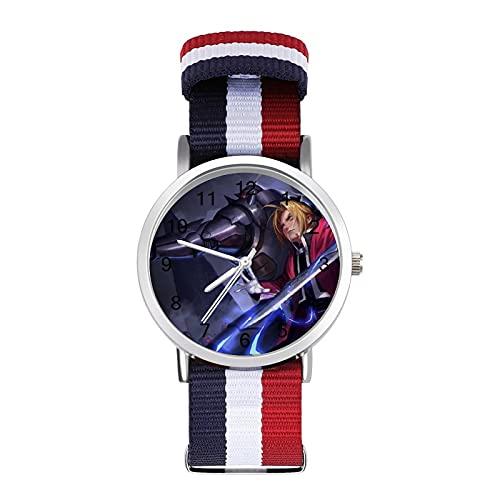 Anime Fullmetal AlchemistTwisted Band Reloj con escala de moda ajustable, banda de impresión a color, adecuado tanto para hombres como para mujeres