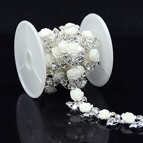 Astonish 1yd A Grade Strass Trim weiße Blume Trim näHen auf Braut Kostüm Brautkleid Supplies
