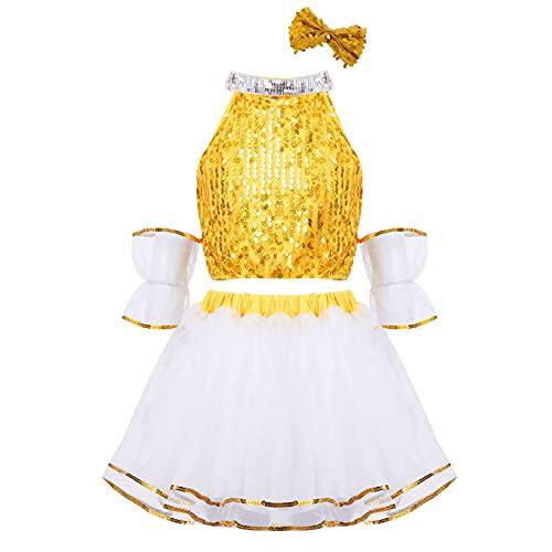 Mufeng Conjunto de Ropa de Baile de Verano para Niñas Disfraz de Danza de Lentejuelas Brillantes con Falda de Malla de Tutú para Princesa Dorado 5-6 años