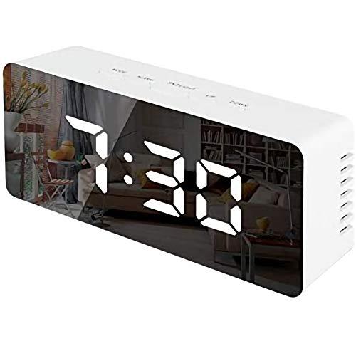 Reloj despertador digital para mesita de noche, reloj LED con doble USB DAB/FM, 4 niveles de brillo ajustable, sonidos de alarma opcionales, ajuste de reloj despertador doble, decoración moderna