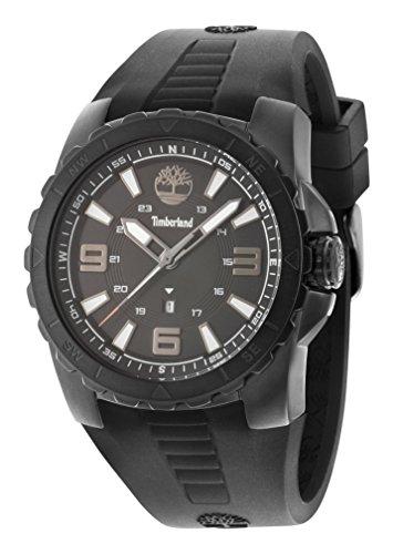 Timberland TBL.94471AEU/02PA - Reloj de cuarzo para hombres con esfera negra y correa negra de silicona