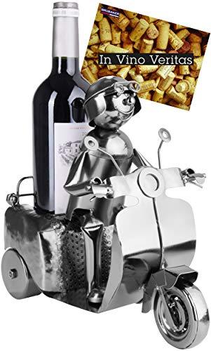 BRUBAKER Wijnfles Houder Scooter Bestuurder Zilver – Metalen Sculptuur Flessenstandaard – 27 cm Metalen Figuur Wijn…