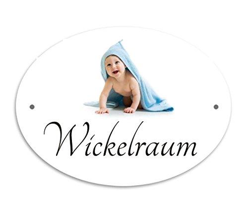 Creativ Deluxe Wickelraum Türschild, Hinweisschild, Kunststoffschild, Piktogramm, ovale Türschilder, Namensschilder Wartezimmer