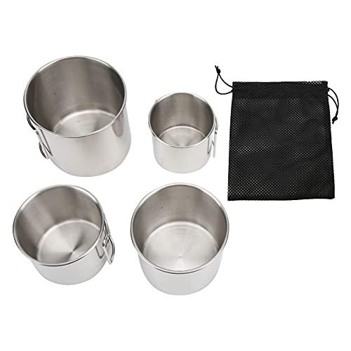 YJZO Juego de Tazas para Acampar de 4 Piezas Taza de café para Acampar con Asas Plegables Taza para mochileros de Acero Inoxidable para Exteriores