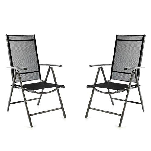 Nexos SC00061_SL2_JM 2er Set Klappstuhl schwarz Aluminium 7-Fach-verstellbar Gartenstuhl mit Armlehne witterungsbeständig leicht stabil Rahmen anthrazit Balkon Terrasse