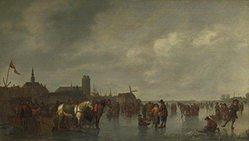 Het Museum Outlet - Abraham van Calraet - Scène op het IJs buiten Dordrecht, Stretched Canvas Gallery verpakt. 16 x 20 cm.