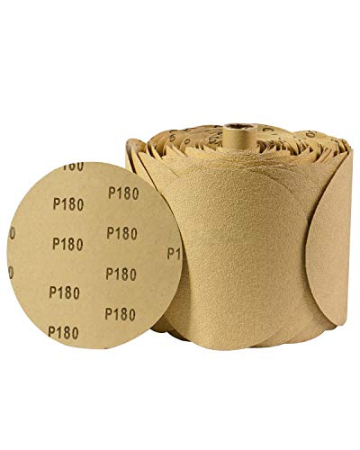 SATC 100 PCS PSA Sanding Discs 6 Inch Adhesive Backed Sandpaper 180 Grit Sander Attachment for Drill Self Stick Aluminum Oxide Round Automotive Sandpaper with Sticky Back